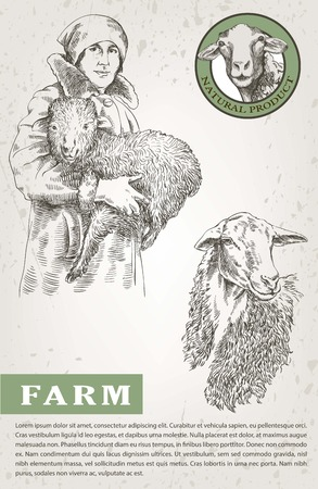 pet breeding: Female farmer holding a lamb in his hands. sketch made by hand on a white background