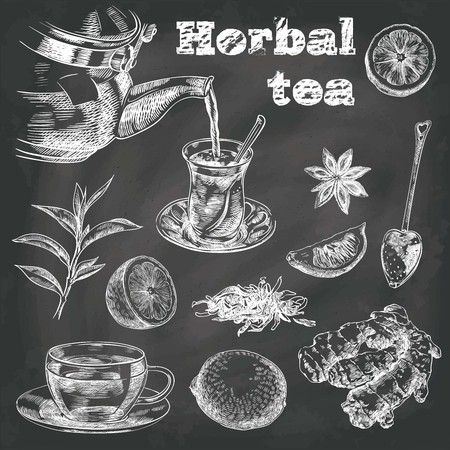 star anise: hand drawn sketches of natural tea, lemon, ginger and star anise on a black background