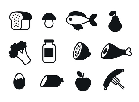 range fruit: black icons of food on a white background
