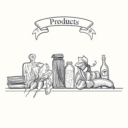 foodstuffs: hand drawn sketches of products on the shelf on a white background Illustration