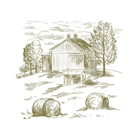 hand drawn sketch of rural landscape on a white background