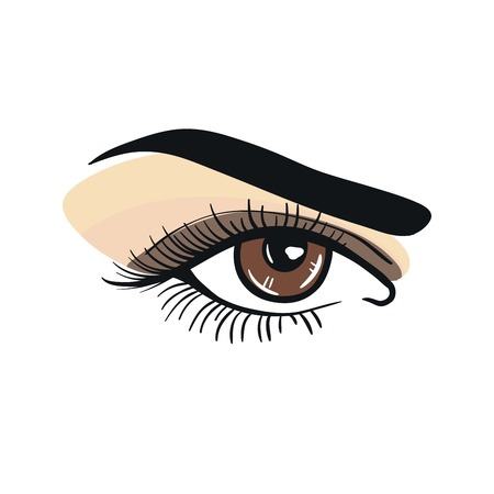 eye close up: Realistic female eye close up. wide open. speaking look Illustration