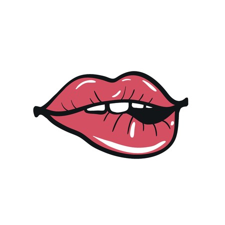 red lips: sexy red female lips. sensual red lips Illustration