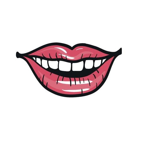 beautiful smile: beautiful female smile. her painted female lips