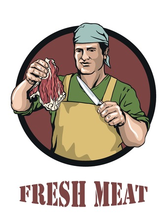 carcass meat: colored illustration of butcher that offers fresh meat Illustration