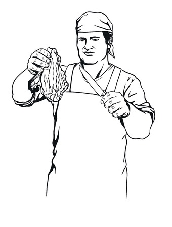 carcass meat: illustration of butcher that offers fresh meat