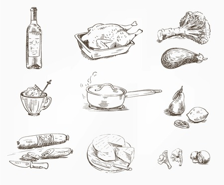 hand drawn sketches of foodstuffs on a white background Ilustrace