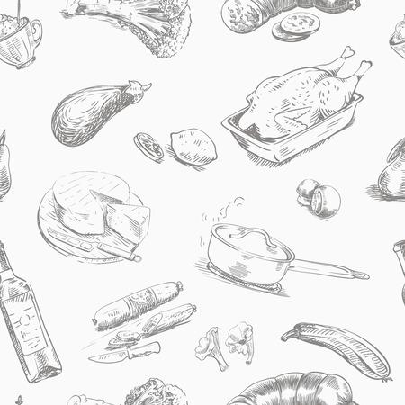 aliments: croquis dessinés à la main des denrées alimentaires sur un fond blanc