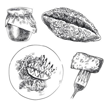 aliments: croquis dessin�s � la main des denr�es alimentaires sur un fond blanc