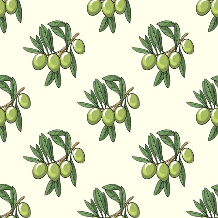 tree branch: Seamless background with the image of the olive tree branch with olives