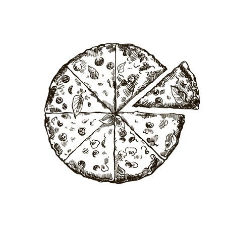 parmesan: sketch of appetizing pizza on a white background
