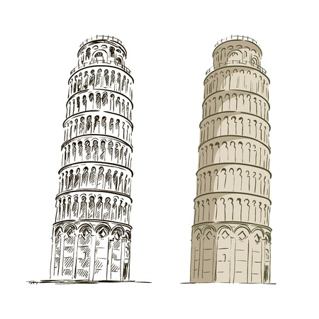 black and color sketch of Leaning tower of Pisa on a white background