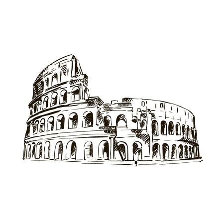 colloseum: sketch of Coliseum on a white background