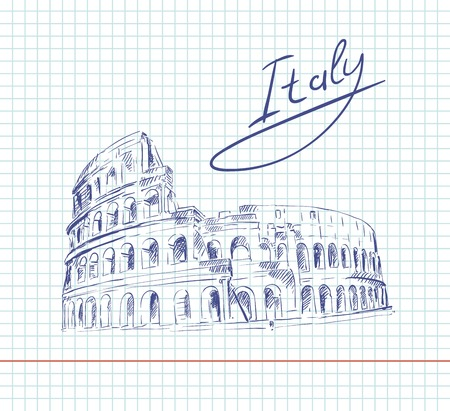 colosseo: sketch of Coliseum on a sheet in a cage