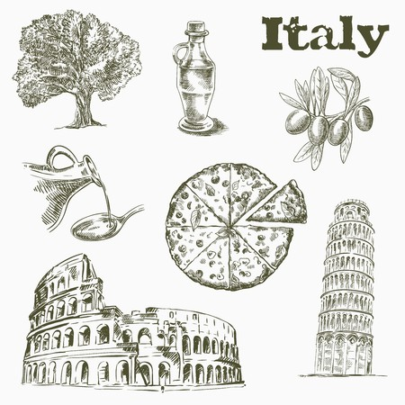 colliseum: sketches of Sights and culture in Italy on a white background