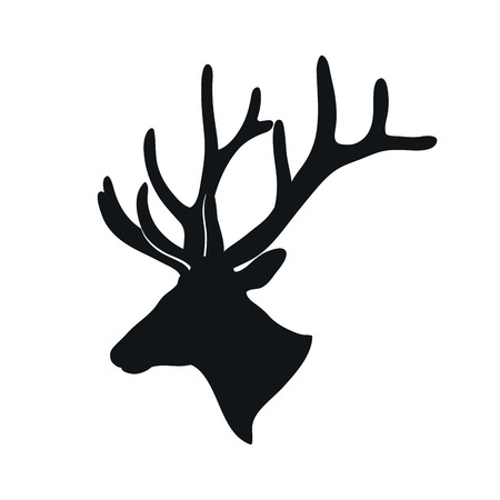 deer: black silhouette of a deer with branching antlers on a white background