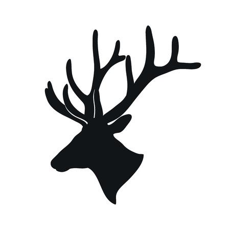venado: negro silueta de un ciervo con astas de ramificación en un fondo blanco Vectores