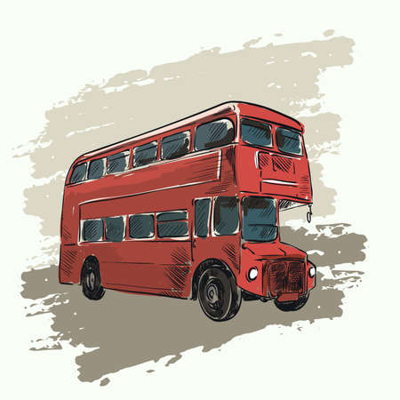 decker: classic red double decker bus on abstract background