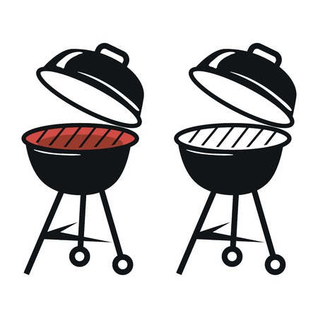 grill meat: Barbecue Grill. Black icons on white background