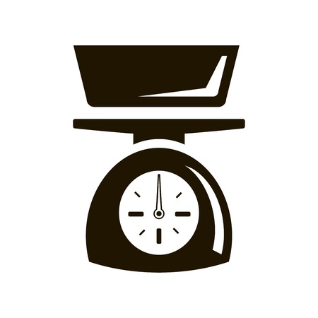 commercial kitchen: Mechanical kitchen scale. Black icon on white background Illustration