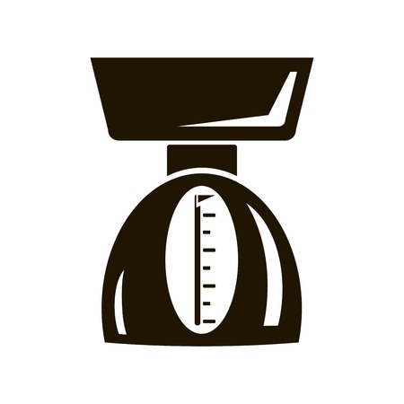 weigher: Mechanical kitchen scale. Black icon on white background Illustration