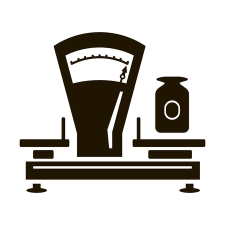 weigher: Mechanical shop scales. Black icon on white background Illustration
