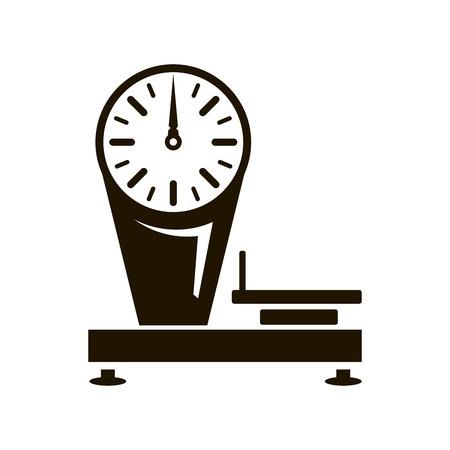 steelyard: Mechanical shop scales. Black icon on white background Illustration