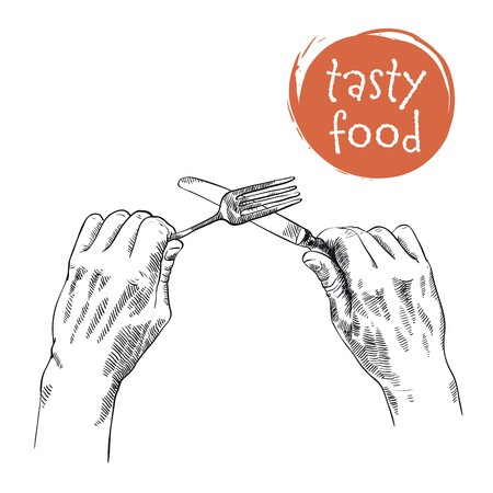 anticipation: sketch of cutlery in hands on a white background
