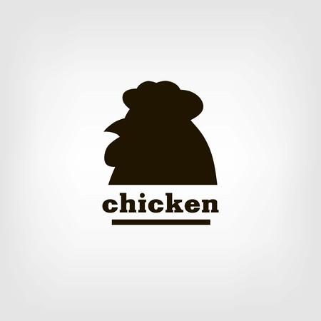 aviculture: silhouette chicken head. black icon on a black background