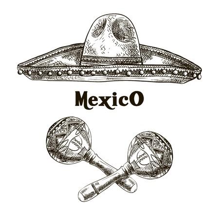 bocetos de personas: dibujado a mano dibujos de sombrero y maracas en un fondo blanco Vectores