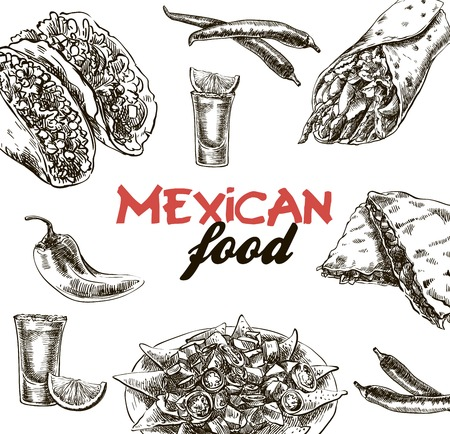 piquancy: hand drawn sketches of Mexican food on a white background