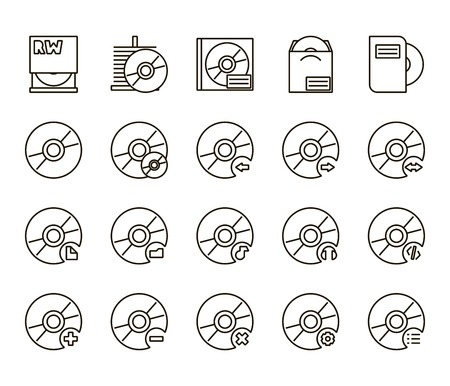 exclude: Black cd disc icons a white background