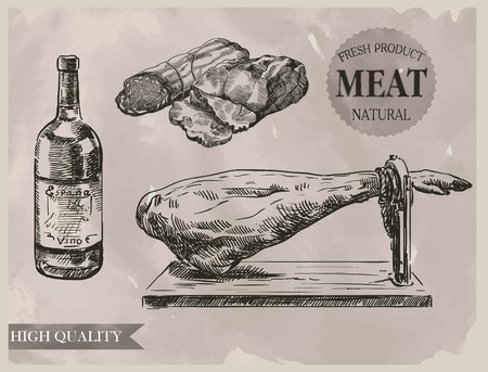 meat: hand drawn sketches of natural meat products of the highest quality