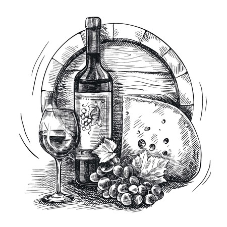 hand drawn sketch of wine and snacks on a white background