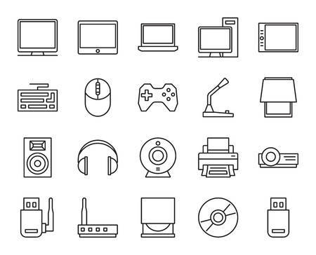 input output: input, output and storage of information. electronic and analog devices. basic set of simple linear icons Illustration