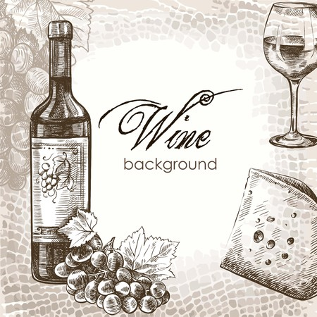 seasoned: hand drawn sketch of wine and snacks on an abstract background