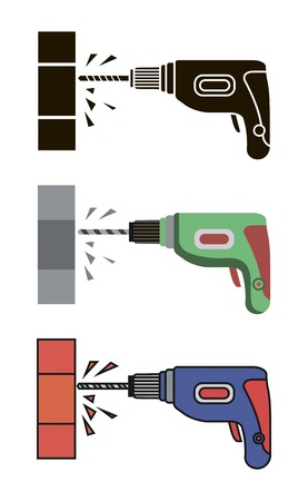 perforating: Hand electric drill. simple flat icons on a white background
