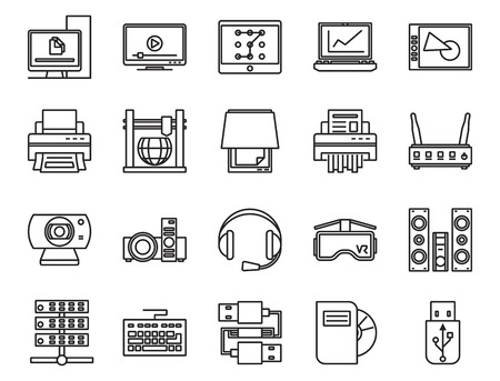 input output: input, output and storage of information. electronic and analog devices. basic set of linear icons Illustration