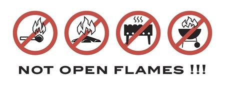 forewarn: not open flames. prohibiting signs. flat icons on a white background