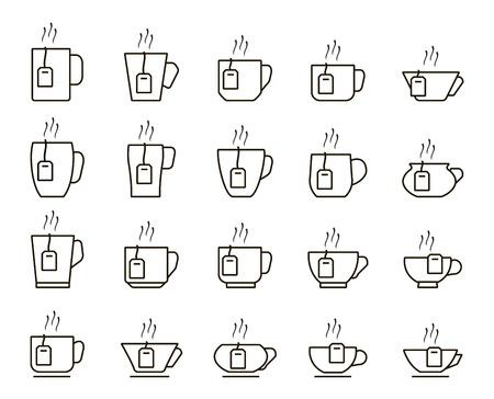 icônes tasse de thé. ensemble d'icônes linéaires