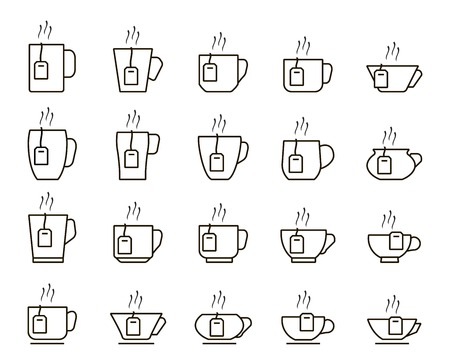 tea cup icons. set of linear icons