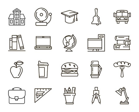 setsquare: Back to school. set of linear icons on a white background