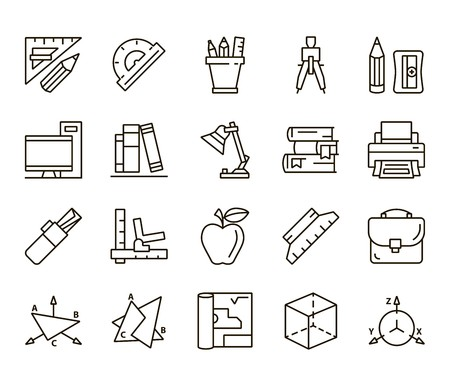 Plotting and descriptive geometry. Back to school. set of linear icons on a white background Illustration
