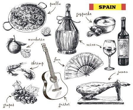 piquancy: hand drawn sketches of food, drink and the mood in Spain on a white background