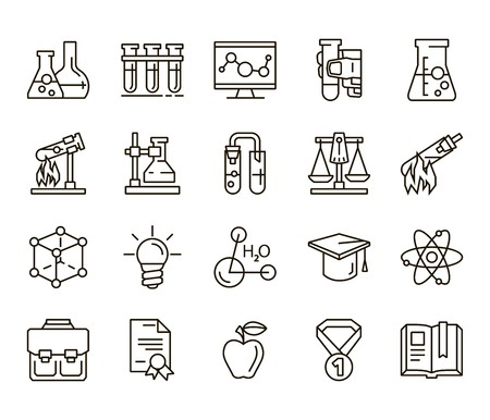 catalyst: Chemistry. Back to school. Set of linear icons on a white background