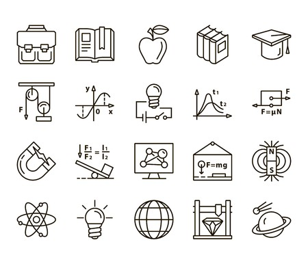 cosine: Physics. Back to school. Set of linear icons on a white background Illustration