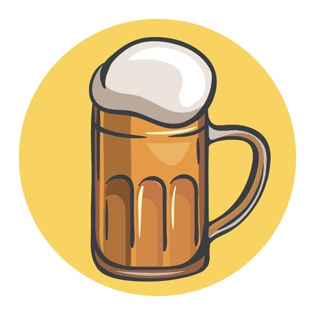 mug of beer. colored illustration on a yellow background Illustration