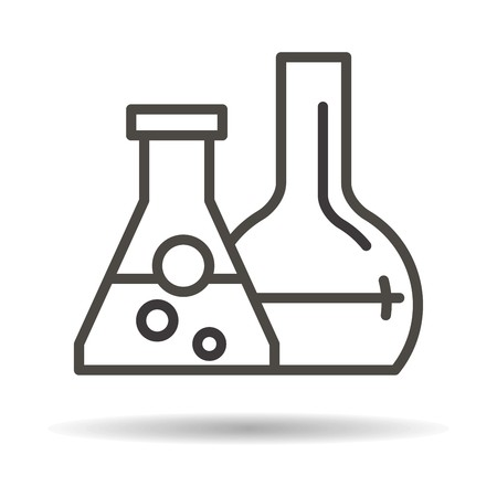 reagents: tubes with reagents flat icon on a white background