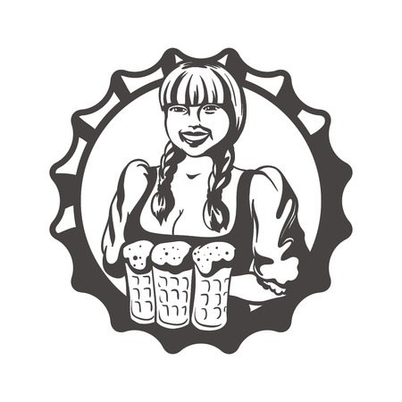 Oktoberfest woman. Waitress with beer. Woman with beer. Oktoberfest. Girl waitress. Beer bottle cap. Oktoberfest icon. Oktoberfest silhouette. Oktoberfest simple.