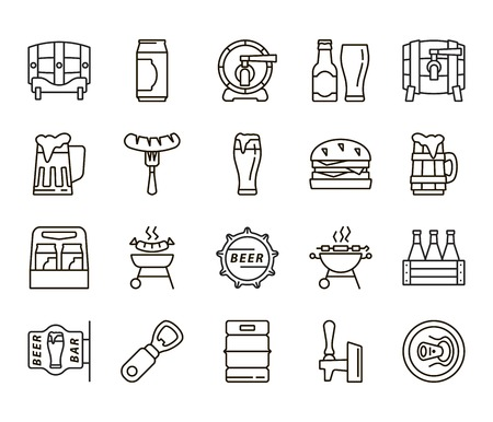 icons: Beer bottle. Can of beer. Pint of beer. Pint of ale. Beer keg. Ale barrel. Beer simple. Beer icons. Beer flat. Beer linear. Beer snacks. Snacks icons. Snacks linear. Snacks flat.